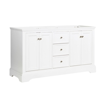 "Fresca Windsor 60"" Matte White Traditional Double Sink Bathroom Cabinet"
