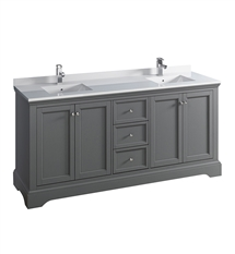 "Fresca Windsor 72"" Gray Textured Traditional Double Sink Bathroom Cabinet with Top & Sinks"