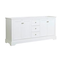 "Fresca Windsor 72"" Matte White Traditional Double Sink Bathroom Cabinet"