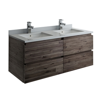 "Fresca Formosa 48"" Wall Hung Double Sink Modern Bathroom Cabinet with Top & Sinks"