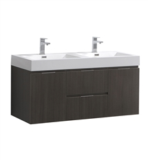 "Fresca Valencia 48"" Gray Oak Wall Hung Double Sink Modern Bathroom Vanity"