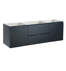 "Fresca Valencia 60"" Dark Slate Gray Wall Hung Double Sink Modern Bathroom Cabinet"