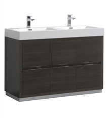 "Fresca Valencia 48"" Gray Oak Free Standing Double Sink Modern Bathroom Vanity"