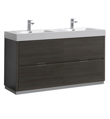 "Fresca Valencia 60"" Gray Oak Free Standing Double Sink Modern Bathroom Vanity"