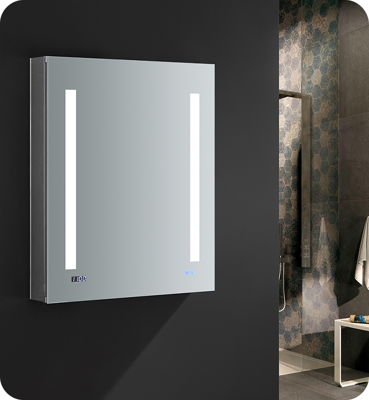 Fresca Tiempo 24 Wide X 30 Tall Bathroom Medicine Cabinet With Led Lighting