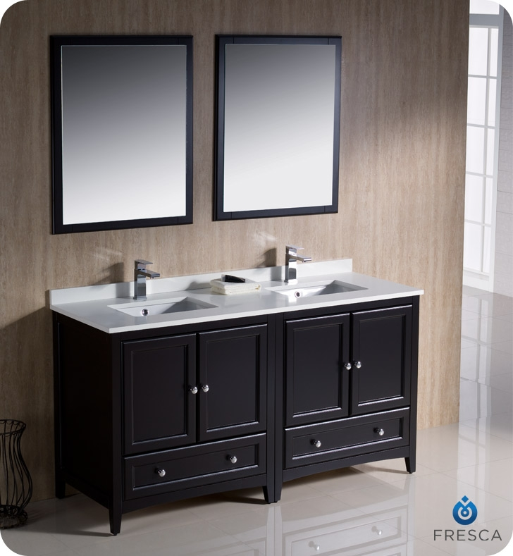 Fresca Oxford 60 Espresso Traditional Double Sink Bathroom Vanity