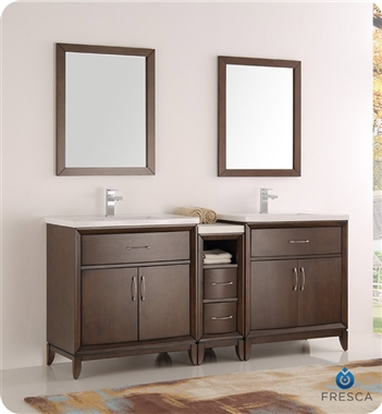 "Fresca Cambridge 72"" Antique Coffee Double Sink Traditional Bathroom Vanity with Mirrors"