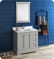 "Fresca Windsor 36"" Gray Traditional Bathroom Vanity with Mirror"