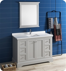 "Fresca Windsor 48"" Gray Traditional Bathroom Vanity with Mirror"