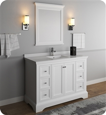 "Fresca Windsor 48"" Matte White Traditional Bathroom Vanity with Mirror"