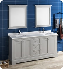 "Fresca Windsor 72"" Gray Traditional Bathroom Vanity with Mirror"