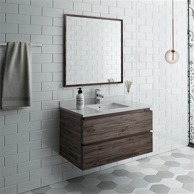 "Fresca Formosa 36"" Wall Hung Modern Bathroom Vanity with Mirror"