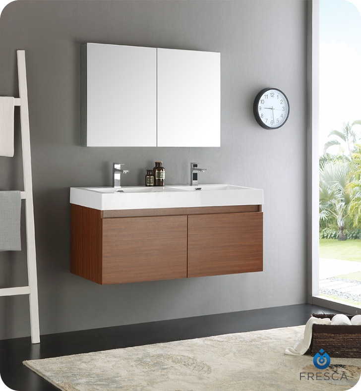 Fresca Mezzo 48 Teak Wall Hung Double Sink Modern Bathroom Vanity With Medicine Cabinet