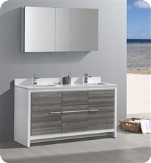 "Fresca Allier Rio 60"" Ash Gray Double Sink Modern Bathroom Vanity with Medicine Cabinet"