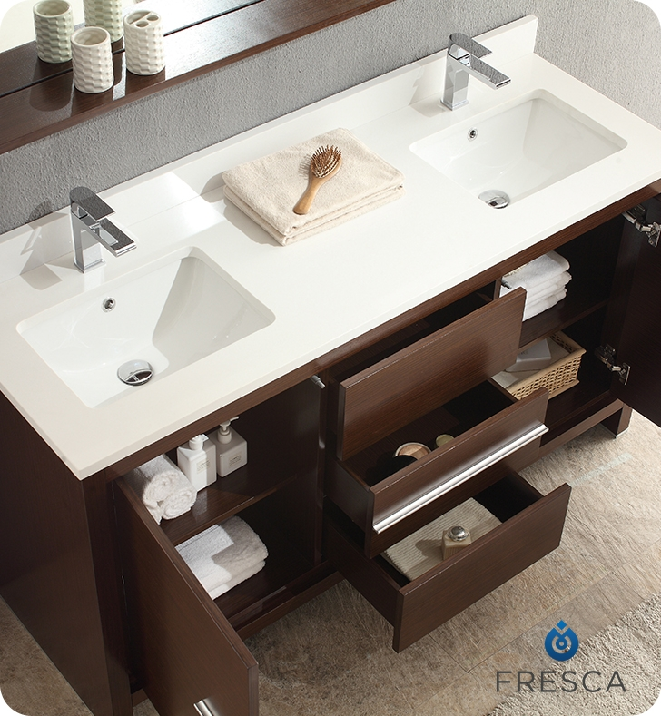 The Fresca 60 Allier Double Sink Bathroom Vanity