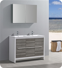 "Fresca Allier Rio 48"" Ash Gray Double Sink Modern Bathroom Vanity with Medicine Cabinet"