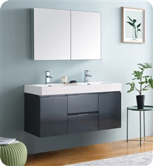 "Fresca Valencia 48"" Dark Slate Gray Wall Hung Double Sink Modern Bathroom Vanity with Medicine Cabinet"