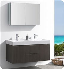 "Fresca Valencia 48"" Gray Oak Wall Hung Double Sink Modern Bathroom Vanity with Medicine Cabinet"