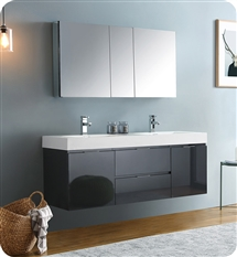 "Fresca Valencia 60"" Dark Slate Gray Wall Hung Double Sink Modern Bathroom Vanity with Medicine Cabinet"