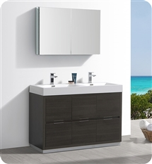 "Fresca Valencia 48"" Gray Oak Free Standing Double Sink Modern Bathroom Vanity with Medicine Cabinet"