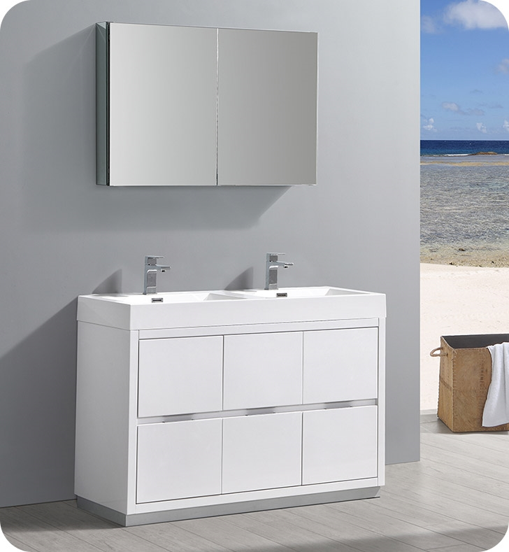 Fresca Valencia 48 Glossy White Free Standing Double Sink Modern Bathroom Vanity With Medicine Cabinet